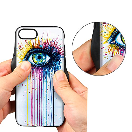 Coque iPhone 7, XGUO Etui en PU Cuir Housse iPhone 7 Compatible Support Voiture Magnétique Protection Pour iPhone 7 Case Cover(Happy Tree,iPhone 7) Eye