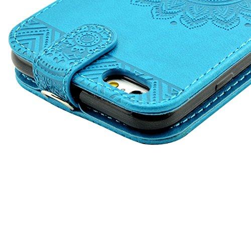 iPhone 6S Hülle, iPhone 6 Ledertasche - Fraelc® UltraSlim 360 Grad Klapphülle Flip Case mit Karte Halter & Standfunktion Leder Schale Henna Motiv Design Leder Etui für Apple iPhone 6/6S (4,7 Zoll), Gr Blau