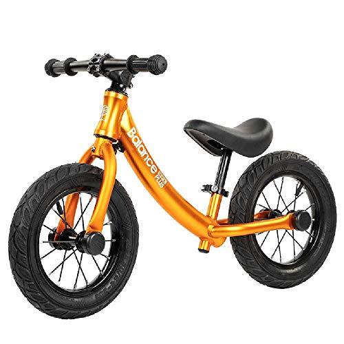 ZXB Aluminiumlegierung Kinder Gleichgewicht Auto High-End-Baby-Waage Auto Scooter Keine Pedal-Roller-Fahrrad mit Fußrasten,Gold-12 inches