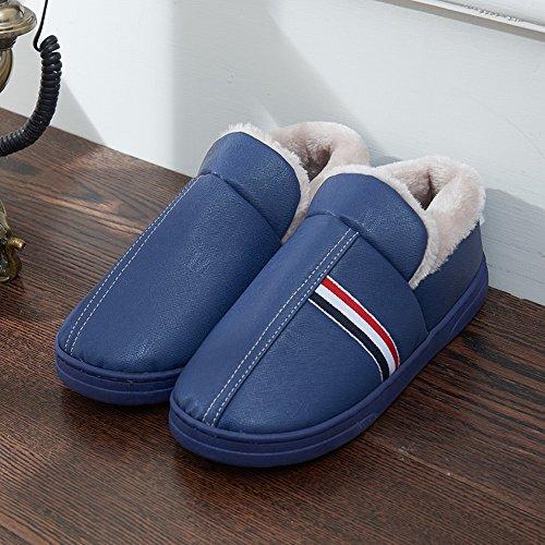Homee Étanche Hiver Couple Pantoufles En Coton Homme Et Femme Sac Avec Maison Intérieur Maison Chaude Anti-slip Épais Bleu Marine