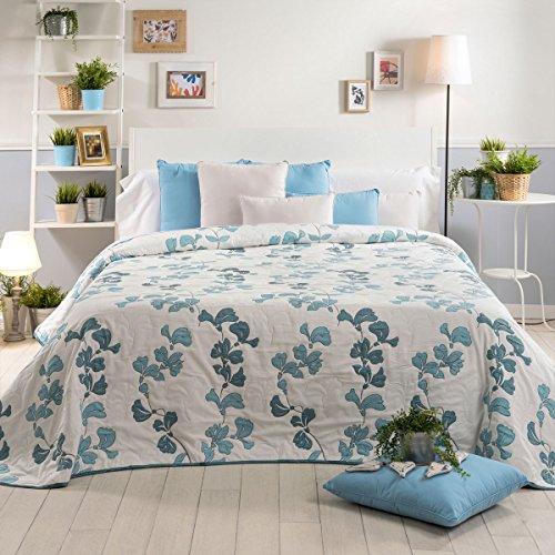 Sancarlos - Colcha de doble tela ISABEL, Poliéster, Color Azul, Cama de 135 cm