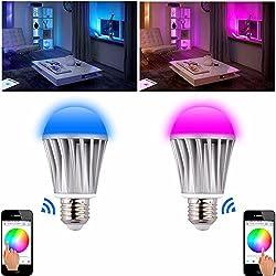 WiFi Wireless Mobile Fernsteuerung Farbwechsel RGB- Warm Weiß, E27 7Watt, WLAN LED Lampe, Licht LED Bulb,dimmbar