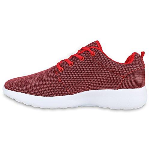 Herren Sportschuhe Muster | Laufschuhe Übergrößen | Sneakers Profilsohle | Blumen Runners Rot Rot Weiss