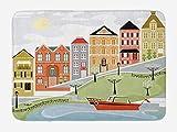 ARTOPB Cityscape Bath Mat, Quaint Village Street and Colorful Building by River Cartoon Illustration Print, Plush Bathro