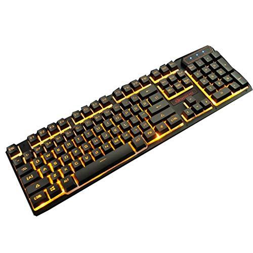 HourenJP Natürliche, ergonomisch geformte, speziell für E-Sportspiele ausgelegte, kabelgebundene Tastatur, Mediensteuerung, orange beleuchtet, wasserdicht und langlebig
