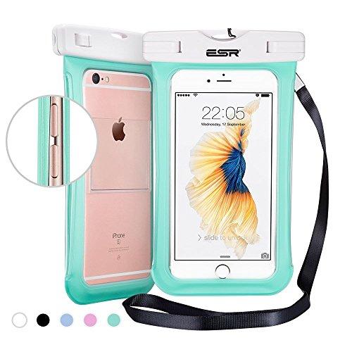 Sac étanche, ESR Pochette étanche universel Waterproof Case Bag Certifiée IPX8 (profondeur de 10m) avec Courroie de Cou et Brassard pour iPhone 7 6s 6 Plus, iPhone 7 6 5 SE, Samsung Galaxy Note 5 4 3  Vert