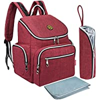 S-ZONE Oxford Multi-function Baby Diaper Bag Backpack with Changing Pad and Portable Insulation Pocket Pocket (Red)