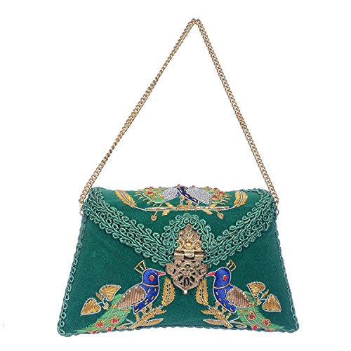 ZAP Green Velvet women's metal clutch (Velvet Tasche Green)