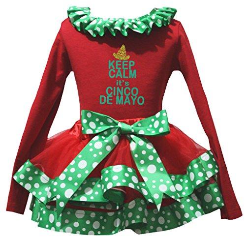 Petitebelle Cinco De Mayo L/S Shirt Grün-weißen Punkte Petal Rock-Satz Nb-8J 3-12 Monate rot