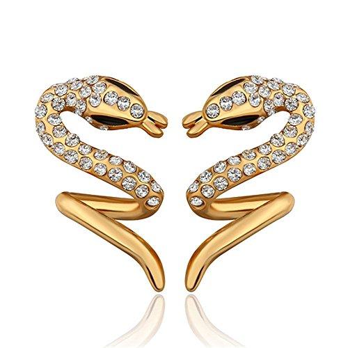 NYKKOLA-Jewelry Lady in cristallo Swarovski a forma di S, a maglia coda di topo in (Maglia Degli Orecchini In Oro Orecchini)