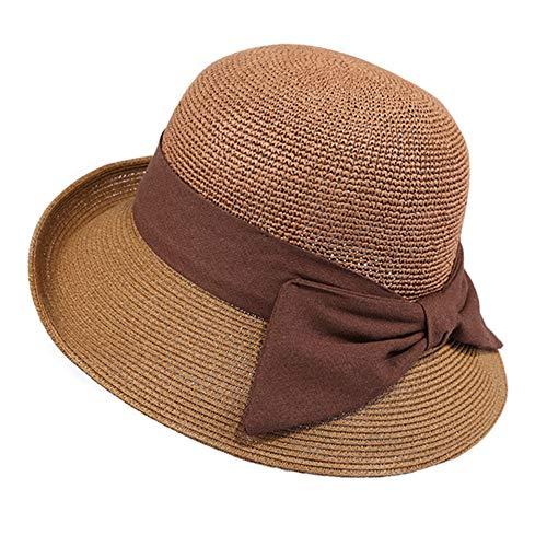 Straw Hat Womens Summer Outgoing Sonnencreme Sonnenhut Floppy Wide Roll Brim UV-Schutz Sonnenhut Beach Sunhat Adjustable Roll-brim Straw