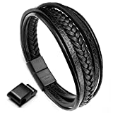 #5: Moneekar Jewels HIGH Quality Leather Bracelet Double Magnetic-Clasp Cowhide Braided Multi-Layer Wrap Mens Bracelet