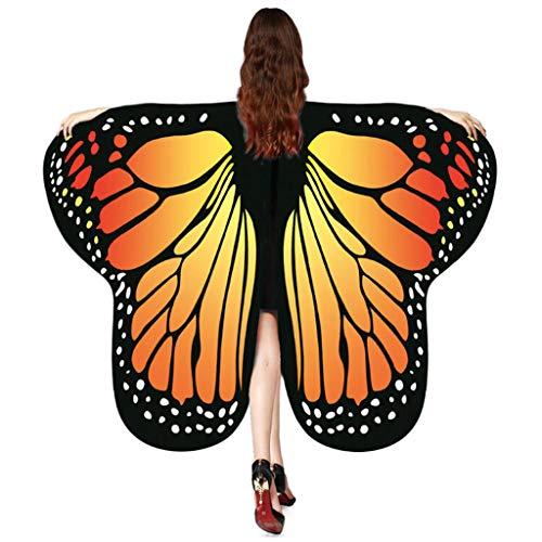 Schmetterling Flügel Kostüm schmetterlingsflügel Butterfly Schal Flügel Cape Umhang Frauen-Schmetterlingsflügel-Schal-Schal-Damen-Nymphen-Elf-Poncho-Kostüm-Zusatz (175x125cm,Orange)