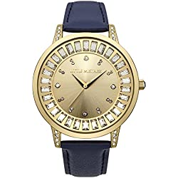 Little Mistress Women's Quartz Watch with Gold Dial Analogue Display and Blue PU Strap LM020