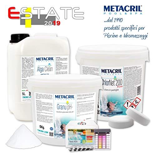 Metacril Pool Kit 2019 Trattamento Acqua Piscina a Base di Cloro in pastiglie da 200gr. 5Kg. + Antialga 5 Lt.+ Riduttore di PH 5Kg. - Spedizione IMMEDIATA