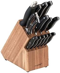 BergHOFF 1315058 Bloc pour 15 Couteaux Acier Inoxydable/Bois Noir 29 x 12 x 36 cm