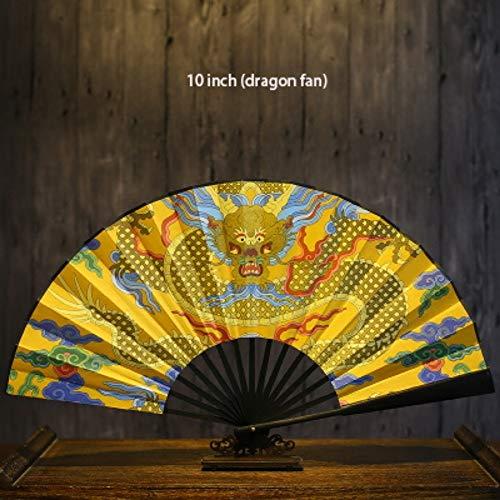 XIAOHAIZI Handfächer,Tier Drachen Gelb Chinesische Hand Fan Papier Fan Bambus Holzdruck Gefaltet Werden Kann Hochzeitsgeschenk Dekoration Tanz Leistung Faltfächer Für Zuhause Wanddekoration (Chinesischer Papier Drachen Kostüm)