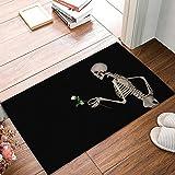 Alfombrilla de puerta para entrada de interior de perfil bajo, rascador de zapatos de bienvenida, alfombra de baño, calavera, gentleman, 60 x 40 cm