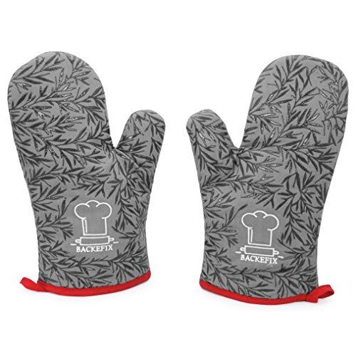 Backefix Ofenhandschuh hitzebeständige Backofenhandschuhe - Topfhandschuhe aus Baumwolle und Silikon Überzug (grau)