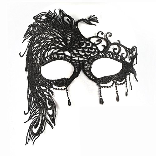 Ballylelly Black Hollow Design Lace Peacock Lace Masquerade Party Eye Mask Veil for Halloween Nightclub Masquerade Party