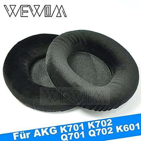 WEWOM 2 Hochwertige Ersatz Ohrpolster für AKG K601, K701, K702, Q701 und Q702 Kopfhörer aus Velours