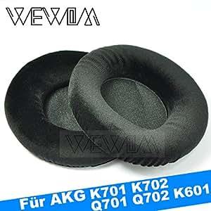 WEWOM 2 oreillettes de remplacement pour casques AKG K601, K701, K702, Q701 et Q702, noir