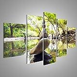 islandburner Bild Bilder auf Leinwand XXL Bild Poster Leinwandbild Wandbilder Kunstdruck 5-teilig AXR Zen Garten Steine Japan