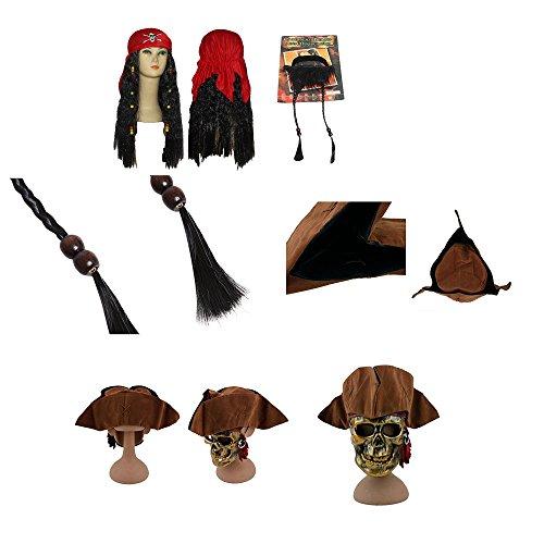 w Piraten-Hut + Bart + Perücke mit rotem Bandana - Piraten-Kostüm für Erwachsene & Kinder - perfekt für Fasching, Karneval & Halloween - Einheitsgröße (Jack Sparrow Kostüm Jungen)
