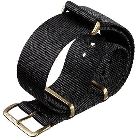 Correa del reloj ZULUDIVER® nylon G10 NATO Negro, Bronce Antiguo, 22mm