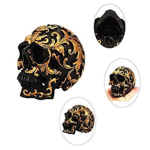 Xiangpian183 Gold Muster Skeleton Kopf Skulptur Harz Dekoration Dekoration Vintage Kollektion für Halloween Requisiten Hauptdekorationen