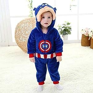 Pijama Unicornio Kigurumi Boy Ropa de la Muchacha del niño del Partido de la Cremallera Bodies bebé Pijama superhéroe Traje de Mameluco de los niños de Invierno Traje Lindo (Color : A, Size : 3M) 6