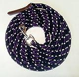 Bodenleine Arbeitsseil Baumwolle 4 mtr schwarz-blackberry-natur Karabiner silber und Leder dunkel