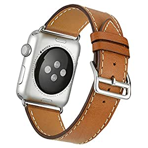 Apple Watch Band,Valkit(TM) Luxury Genuine Leather Watch Band Strap Bracelet Replacement Wrist Band With Adapter Clasp for iWahtch Apple Watch 38mm& Sport & Edition--Single tour - (Brown)
