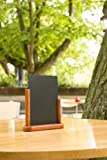 Securit 10 x 15cm Lacquered Finish Elegant Small Table Top  Menu Chalk Board - Mahogany