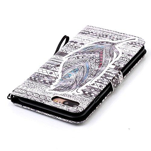 Voguecase® Pour Apple iPhone 7 Plus 5,5 Coque, Étui en cuir synthétique chic avec fonction support pratique pour Apple iPhone 7 Plus 5,5 (Noir-Blanc)de Gratuit stylet l'écran aléatoire universelle Dragonne-Diamant-plume noire 07