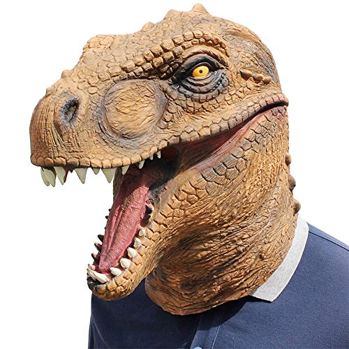 Tyrannosaurus Rex Head Mask Máscara de látex realista Cosplay de disfraces de Halloween Fiesta de Navidad Juegos de rol Juguetes (Color : Brown, Size : One size)