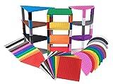 Strictly Briks Set da 36 basi per costruzioni impilabili triangolari, semicircolari e quadrate con 60 pilastri - compatibili con tutte le principali marche - 15,2 cm - 36 pezzi