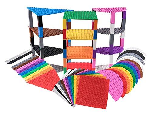 Strictly Briks - Stapelbare Premium-Bauplatten - dreieckig, halbrund und quadratisch - mit Allen großen Marken kompatibel - inkl. 60 verbesserten Bausteinen 36 Platten mit je 15,2 cm Seitenlänge