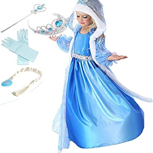 YOGLY Mädchen Prinzessin Elsa Kleid Kostüm Eisprinzessin Set aus Diadem, Handschuhe, Zauberstab, Größe 120,  04 Kleid und (Für Elsa Kinder Kostüme)