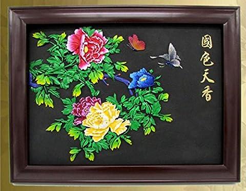 Artisanat Carving actif en carbone Accueil tenture Cadre Peinte à la main charbon Le soulagement Peint Peintures décoratives cadeau Chinois classique
