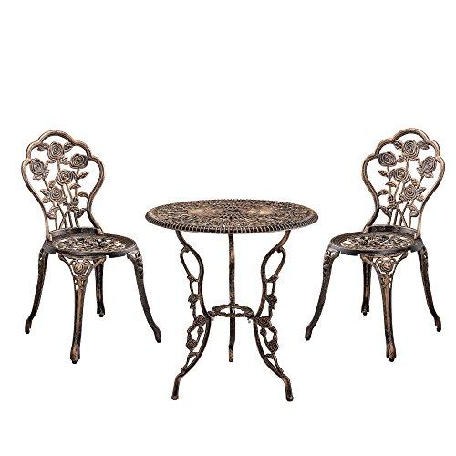 [casa.pro]®] Gartentisch/Bistro-Tisch 60cm, rund, Bronze mit 2 Stühlen - Französische Gartenmöbel im Antik-Look für Balkon/Terrasse - Bistro-Set wetterbeständig, Gusseisen-Metall als Gartendeko Pro Kombi-case