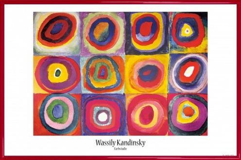 Wassily Kandinsky Poster und Kunststoff-Rahmen - Farbstudie, Quadrate Mit Konzentrischen Ringen, 1913 (91 x 61cm)