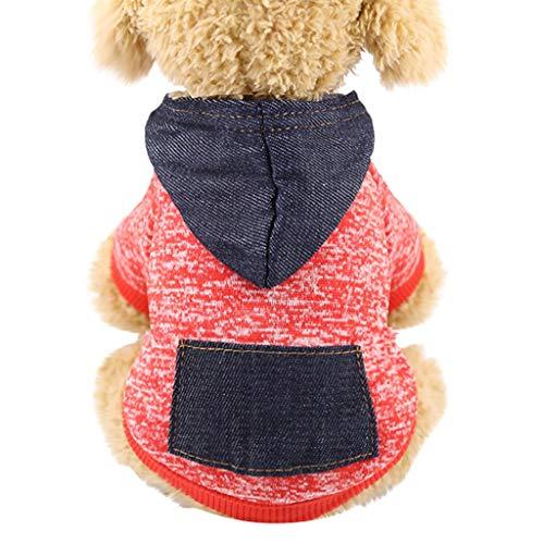 Agnes Bruce Cane Vestiti Cadono Pet Dog Pet Vestiti Incappucciati Vestiti del Cane del Cappotto T-Shirt Vestiti Caldi di Inverno Felpa for Cani (Color : Rojo, Se envía Desde : Estados Unidos-XXL)