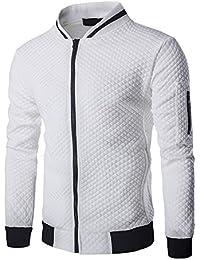 ba8167949597 Veravant Sweat-Shirt Homme Manches Longues Pull Uni Zippé Bomber Blouson  Veste Sport