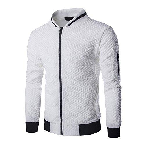 Veravant Sweat-Shirt Homme Manches Longues Pull Uni Zippé Bomber Blouson Veste Spo