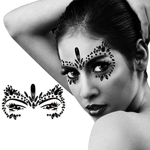 apmore Strass Gesicht Tattoo Removable Face Gem Jewel Aufkleber (Black) ()