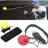 IGemy - Banda para la cabeza con pelota para entrenamiento de reflejos y velocidad para boxeo - Ejercicio de puños de boxeo rosso
