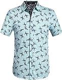 SSLR Herren Hemd Kurzarm Baumwolle Freizeithemd Kraniche gedruckt Shirts Bügelleicht (XX-Large, Hellgrün)