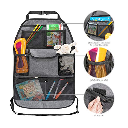 reer Autorücksitz-Organizer TravelKid Tidy, schmutzabweisend, viele Taschen, für alle Autositze, auch Sportsitze, grau