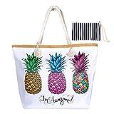 WolinTek Große Wasserdicht Strandtasche mit Reißverschluss und Innentasche Sommer TascheVerschluss Damen Shopper Tasche Schultertasche Badetasche Beach Bag Umhängetasche für Mädchen (Style 4)